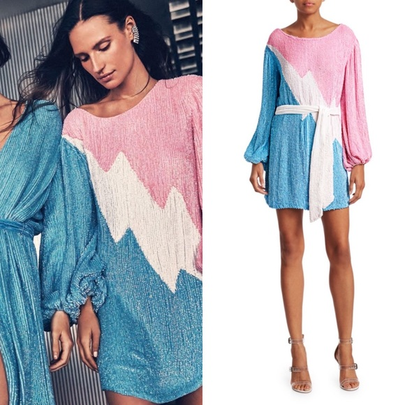 Dresses & Skirts - [Retrofête] Grace Sequin Colorblock Mini Dress